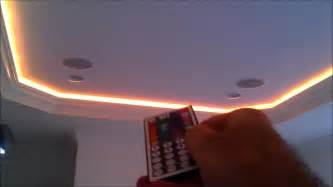 flexible 5050 rgb led ribbon light strips behind crown molding by h3 homes youtube