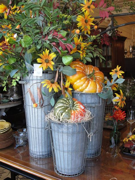 Simple Fall Flowers And Pumpkins In Really Cute Galvanized