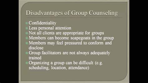 advantages  disadvantages  group counseling