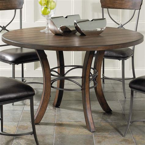 hillsdale cameron  wood dining table  metal acent
