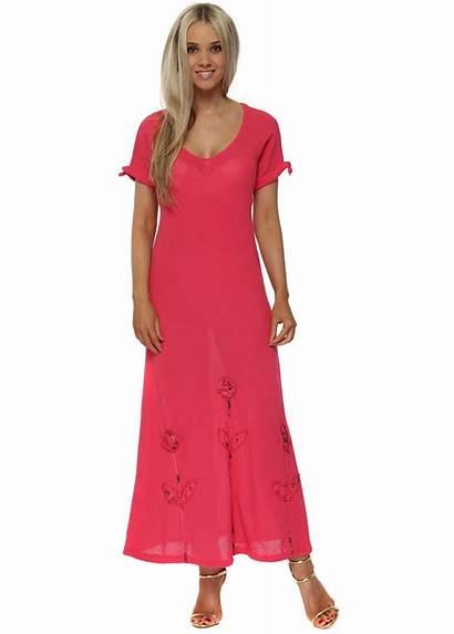 Linen Maxi Pink Rose Raspberry Italian Boutique
