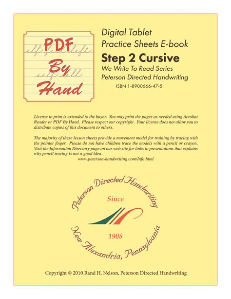 Eworkbook  Cursive Step 2 Building License  Peterson Directed Handwriting