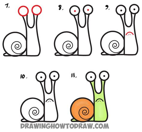 draw cartoon snail  lowercase letter  easy