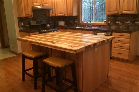 kitchen island with bar top handmade solid hickory bar top island top by glessboards
