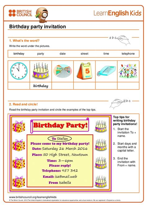writing practice birthday party invitation worksheet