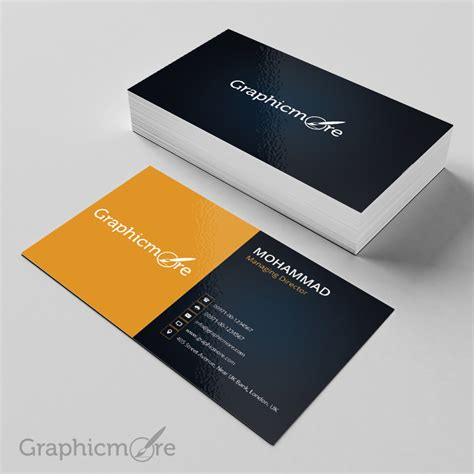black yellow business card template mockup design