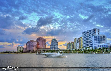 West Palm beach Skyline at Boat Docks