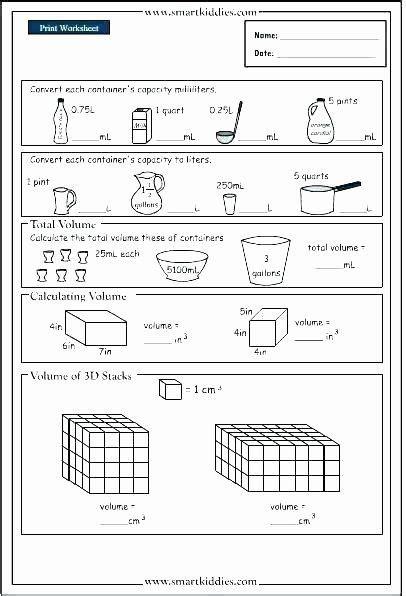 volume worksheet  grade area worksheets  grade