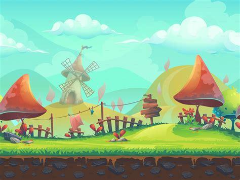 seamless cartoon landscape   windmill  nearbirds