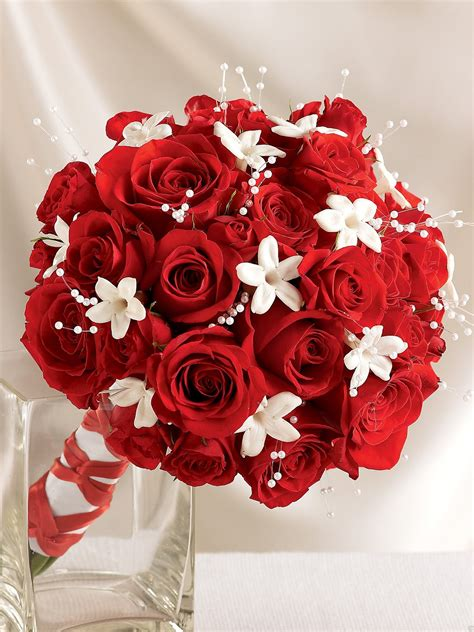 Dazzling Red Rose And Stephanotis Scented Bridal Bouquet