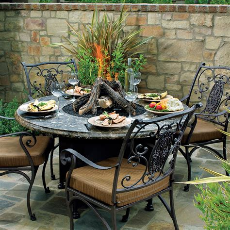 outdoor patio furniture with pit fireplace design ideas
