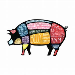 Reserved For Kyle  Detailed Pig Butcher Diagram Use