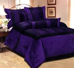 7 pcs flocking leopard satin comforter set bed in a bag king size purple black ebay