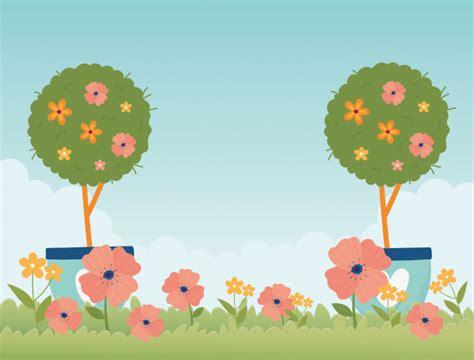 Feliz primavera jardín en maceta árboles flores hierba
