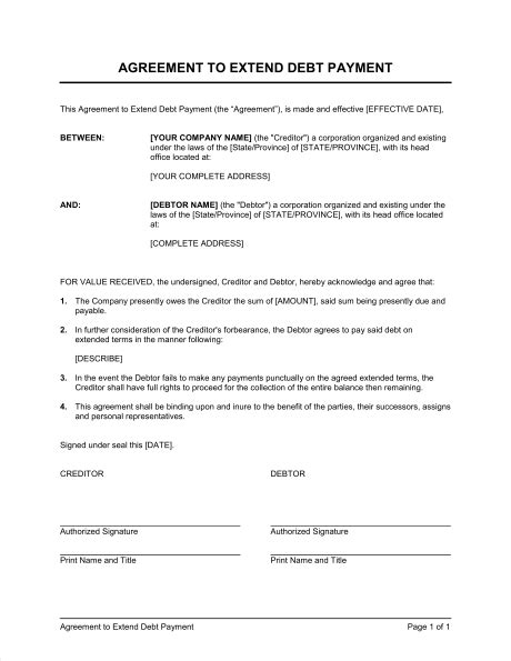 payment contract template agreement to extend debt payment template sle form biztree