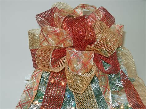 large christmas tree topper bow red and gold glitter mesh and