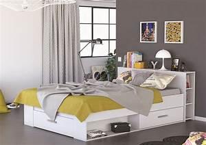 Lit Adulte Tiroir : lit en bois avec tiroir 140x190 blanc perle ~ Teatrodelosmanantiales.com Idées de Décoration