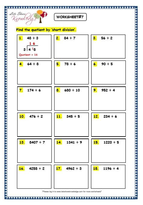 grade  maths worksheets division  short division