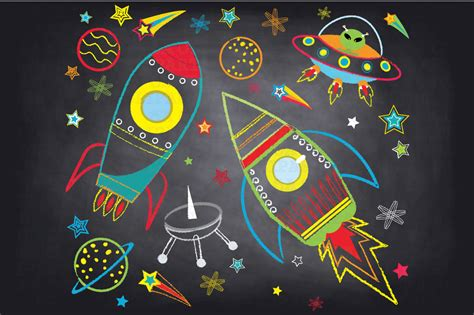 outer space clipart chalkboard outer space clipart illustrations on creative