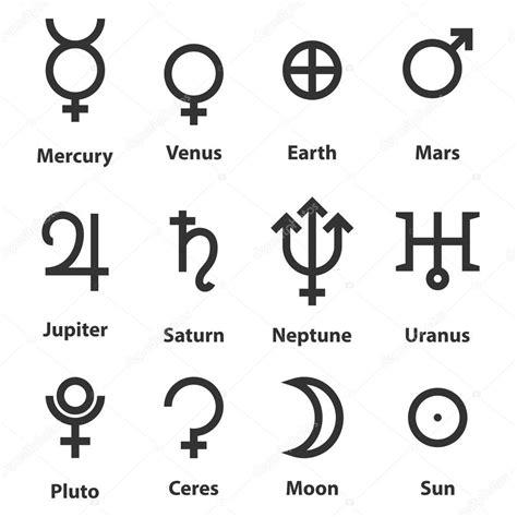 stjärntecken och astrologi symboler av planeterna — Stock ...