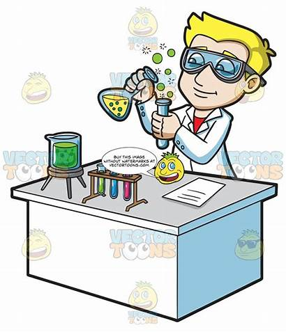 Chemical Scientist Reaction Creating Clipart Cartoons Scientists