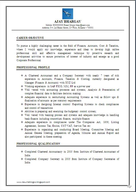 resume blog  resume sample  chartered accountant ca