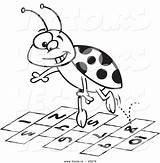 Coloring Hopscotch Outline Numbers Cartoon Ladybug Jumping Toonaday Vecto Rs sketch template