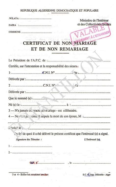 exemple acte de mariage certificat de non mariage mairie 233 chantillon alg 233 rie