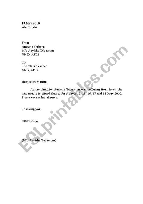 english worksheets school leave letter sample