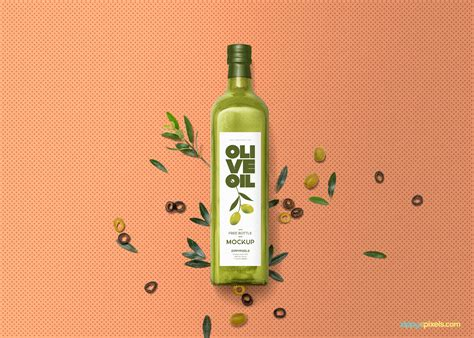 The item is presented in a front view. Free Glass Olive Oil Bottle Mockup