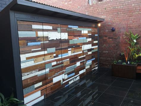 shed  concertina doors clad  recycled timber store