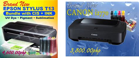 create list ciss printer epson t13 and canon i2770 low priced computer