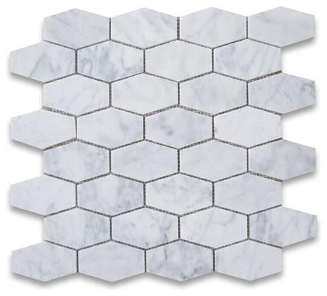 elongated carrara bianco honed hexagon marble mosaic tile