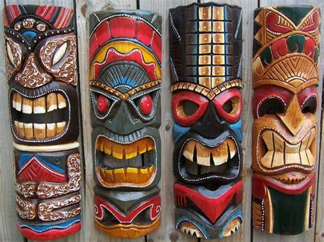 carved wood tiki masks balinese carvings