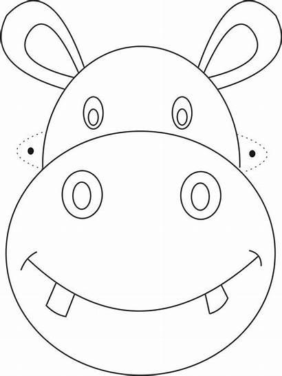 Mask Masks Animal Printable Hippo Coloring Templates