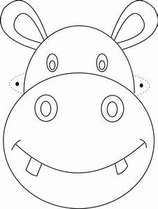 Hippo mask printable coloring page for kids cizimler for Children s mask templates