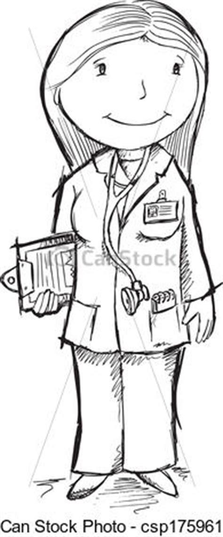 14920 doctor clipart black and white 귀여운 밑그림 의사 벡터 삽화 예술 csp17596113의 벡터 클립아트 클립아트 일러스트