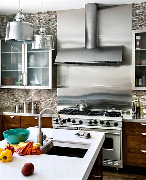 steel backsplash kitchen inspiration from kitchens with stainless steel backsplashes