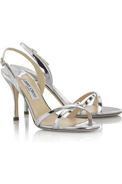 brain atwood shoes jimmy choo india mirrored leather sandals in metallic lyst