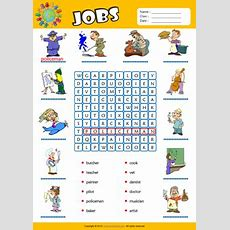 Jobs Word Search Puzzle Esl Vocabulary Worksheet  Activities For Children Pinterest