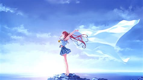 Anime In The Sky 43 Blue Sky White Wings Hd Wallpapers