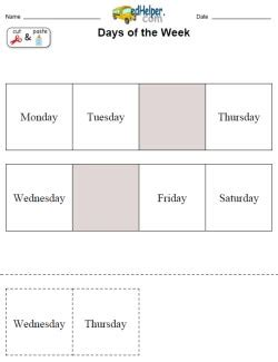 days of the week activities worksheets printables and
