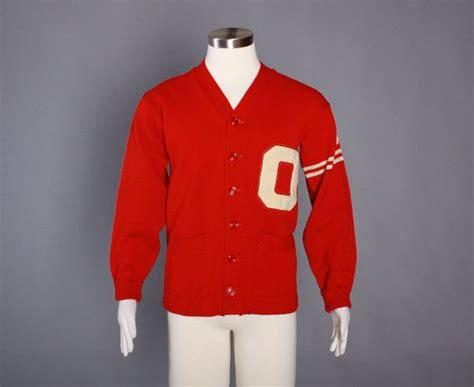 50s Men's Wool Varsity Sweater / 1950s Red Letterman Cardigan M 40