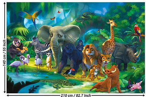 wall mural kids room jungle animals mural decoration