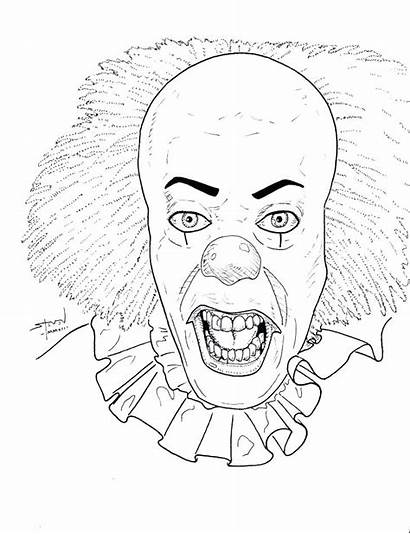 Coloring Pages Clown Creepy Evil Icarly Adults