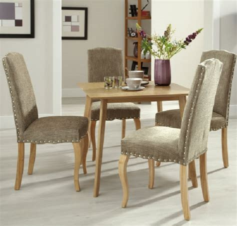 madeline upholstered dining chair in bark fabric with oak
