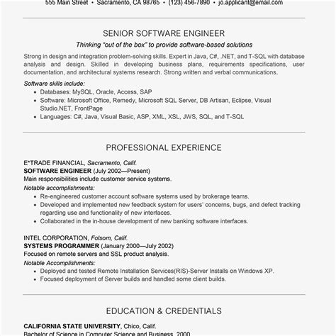 Software Developer Professional Summary by Engineering Resume Exles For Students Sle Ojt