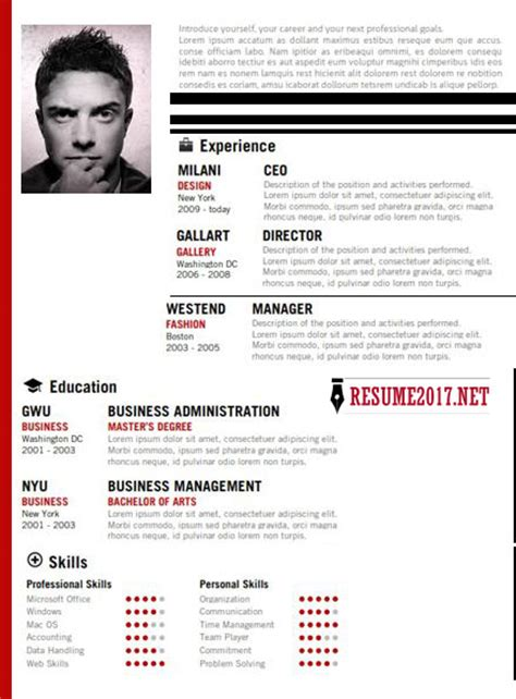 Creative Resume Exles 2017 by 20 Resume Templates 2017 To Win