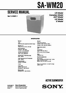 Sony Sa-wm20 Service Manual