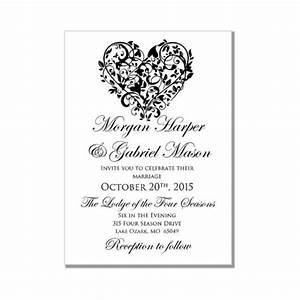 printable wedding invitation quotheartquot diy wedding With free printable heart wedding invitations